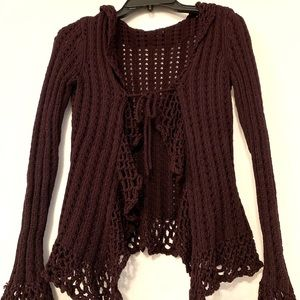 Sweaters - Plum Wine Knit Crochet Cardigan with Bell Sleeves